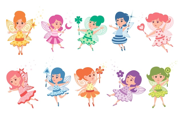 Set of flying butterfly fairy with different shape magic wand and wearing colorful clothes cartoon character design flat vector illustration.
