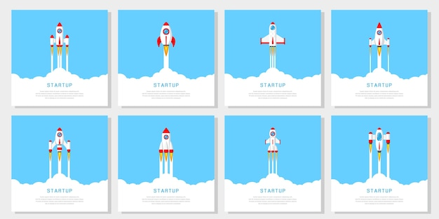 Set of flying rockets, business startup banner concept,