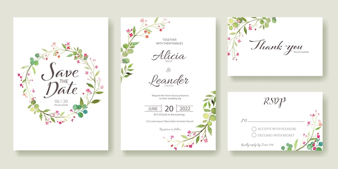 Set fo wedding invitation, save the date, thank you, rsvp card template.