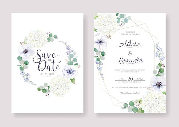 결혼식 초대장을 설정하고 날짜 카드 템플릿을 저장하십시오.