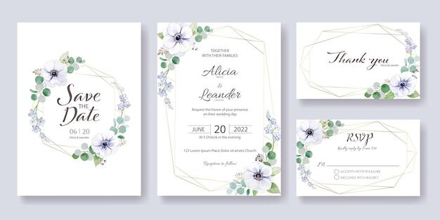 Установите приглашение на свадьбу, сохраните дату, спасибо, шаблон карты rsvp.