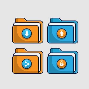 Set folder icon illustration