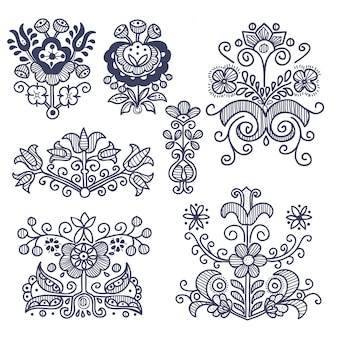 Set of folk floral ornaments