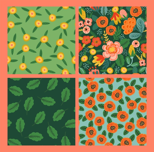 Set of folk floral seamless patterns.