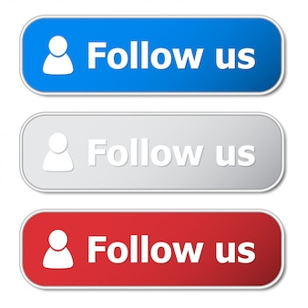 Set of follow us button with metal frame and shadow