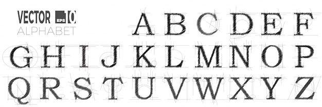 Set of font and alphabet, modern abstract letters made with pen.