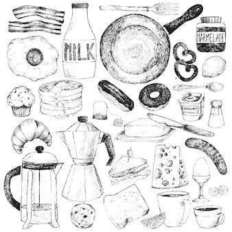 아침 식사를 위해 음식과 식기를 설정하십시오.