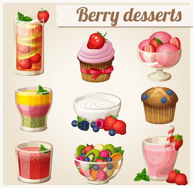 Set of food. berry desserts