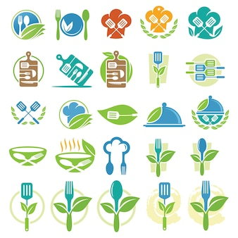 Set of food and cook logo design