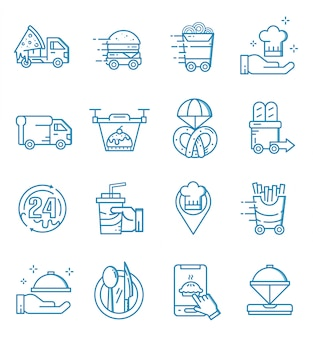 Set of food delivery icons with outline style