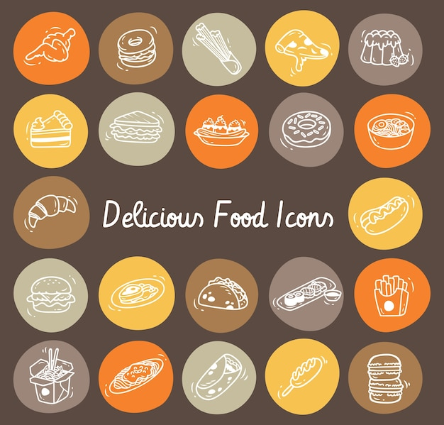 Set of food doodle icon