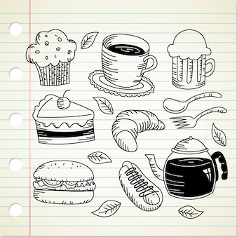Set of food and drink doodle