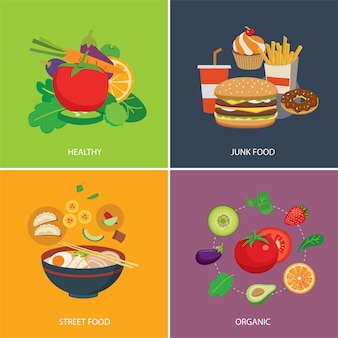 Set of food in flat style
