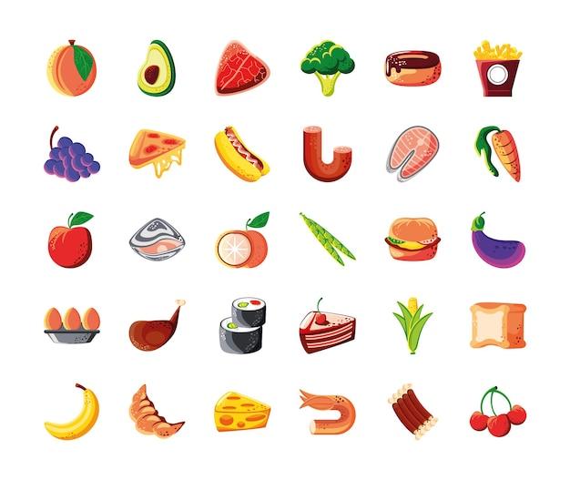 Set food fresh nutrition ingredients