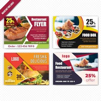 Set of food horizontal flyer for restaurant