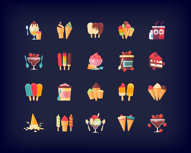 Set of   food icons desserts, ice cream, and sweet dishes.