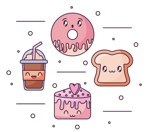 Set of food icons in kawaii style