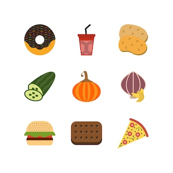 Set of food icons on white background vector isolated elements