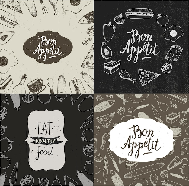 Set of food illustration banners, posters, cards, covers. vegetables, fruit, meat, fish, dessert hand drawn backgrounds vintage style