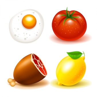 Set of food illustrations: beef, tomato, lemon and scrambled eggs. isolated