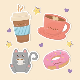 Set of food kawaii characters