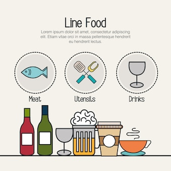 Set food line isolated icons