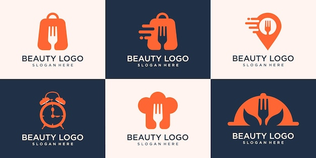 Set of food logo concept, shop, chef, map and time food . logo simple modern
