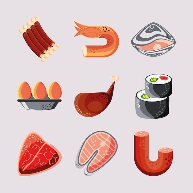 Набор продуктов питания, мяса, рыбы, суши