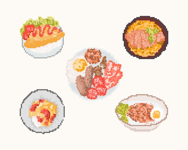 Set of food in pixel art. 8 bit art