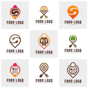 Set of food point logo