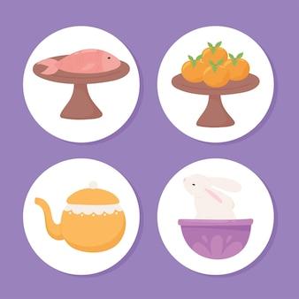 Set of food and teapot