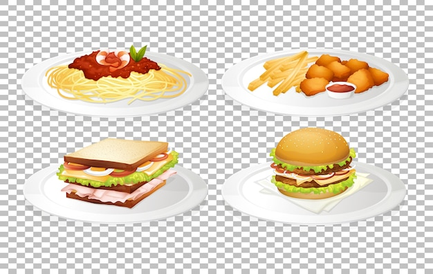 Set of food on transparent