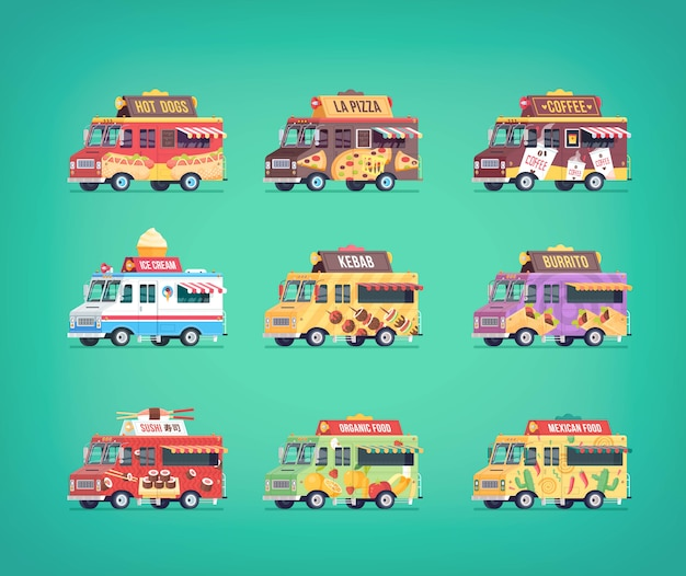 Set of  food truck icons. modern  concept compositions for food delivery service vehicles.