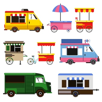 Set of food trucks and bicycles for commercial use