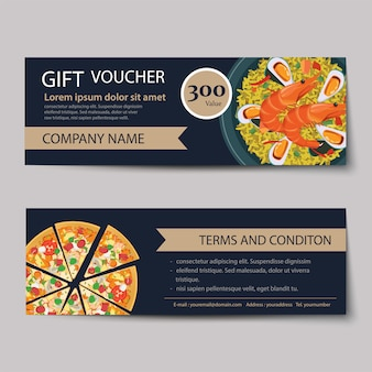 Set of food voucher discount template design.
