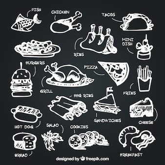 Set of food with description in chalk style