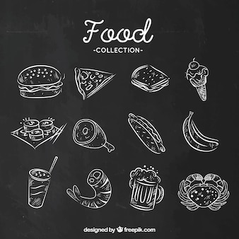 Set of foodstuff in chalk style