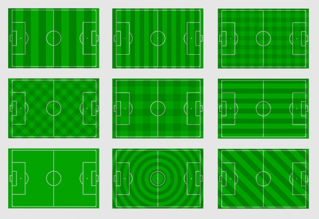 Set of football fields with different lines