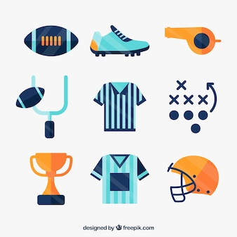 Set of football flat elements
