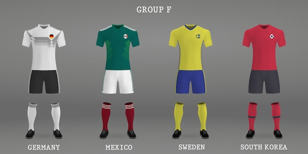 Set of football kit, shirt template for soccer jersey.