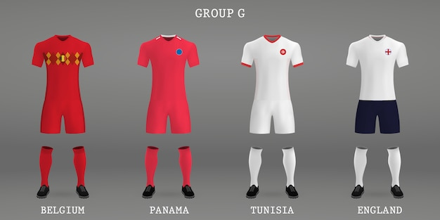 Set of football kit, shirt template for soccer jersey.