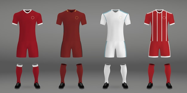 Set of football kit, t-shirt template for soccer jersey.