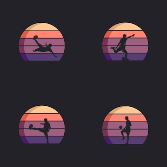 Set of football player in action logo design