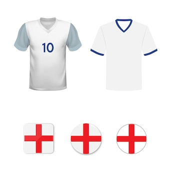Set of football shirts and flags of the national team of england
