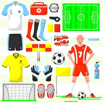 Set of football soccer icons.