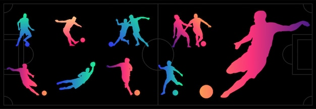 Set of football, soccer players. beautiful color gradients silhouettes
