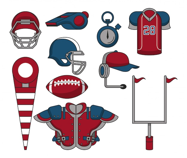 Set of football sport equipment cartoons collection