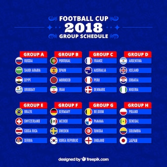 Set of football world championship groups in flat style