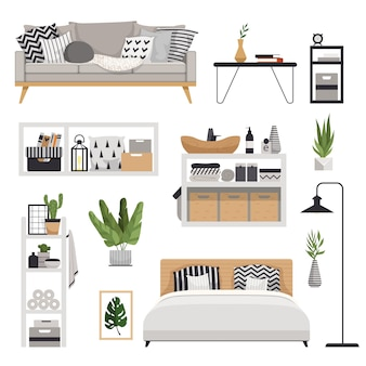Гарнитур для стильной современной мебели в скандинавском стиле. минималистичный и уютный интерьер с ящиками, кроватью, полками, светильником, растениями, диваном и столом.