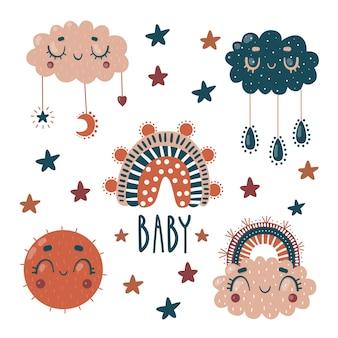 아기 인쇄용으로 설정합니다. 귀여운 구름, 태양, 무지개. letterng 아기.